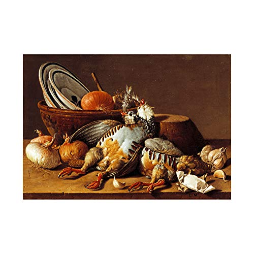 Painting Still Life Bodegon Partridges Onions Garlic Wall Art Print ペインティングまだ生活壁