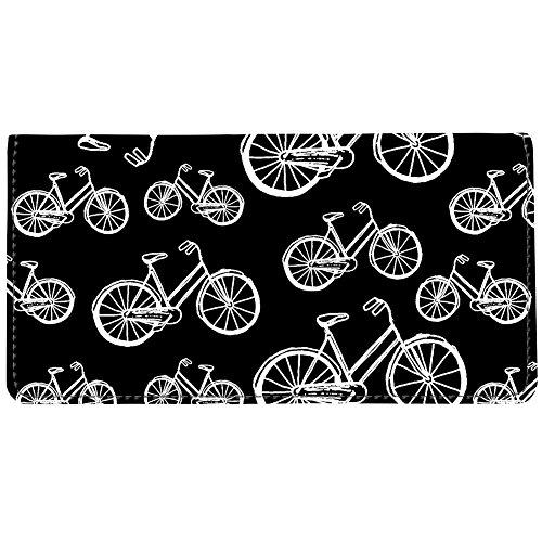 Fabric Black Checkbook Cover (Snaptotes Black White Vintage Bicycle Design Checkbook Cover)