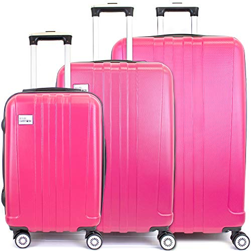 Miami CarryOn Rio 3 Piece Expandable Hardside Spinner Luggage Set, Combo Lock (Hot Pink) (Pink Suitcase Hot)