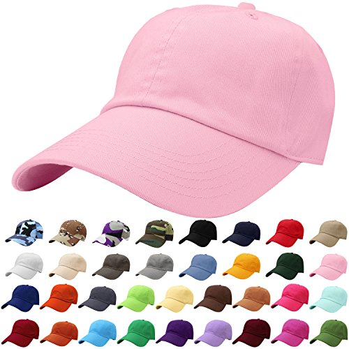 Falari Women's Baseball Cap Hat 100% Cotton Adjustable Size Light Pink 1812 - Adjustable Pink Hat
