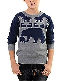 MFrannie Boys Polar Bear And Tree Jacquard Knits Long Sleeve Sweater