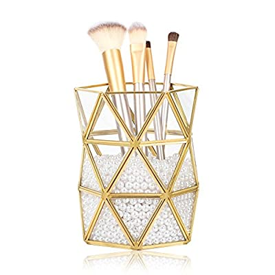 HaloVa Makeup Organizer, Multi-functional Beautiful Makeup Brush Holder, Clear Glass Cosmetic Storage Box with White Pearls for Makeup Brushes, Ikebana and More -  - organizers, bathroom-accessories, bathroom - 512JdS7OIGL. SS400  -