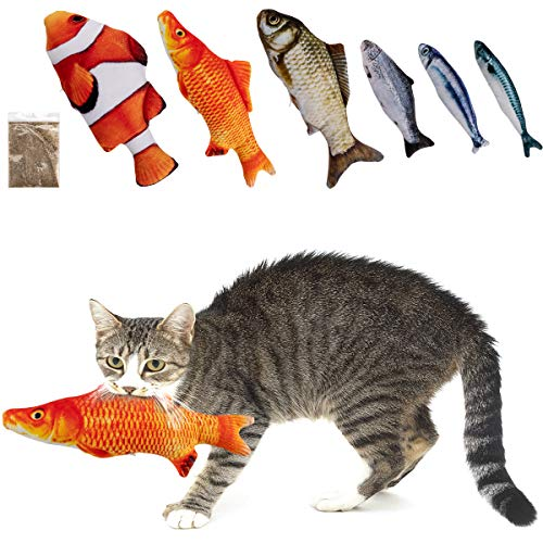 MEWTOGO 6 Pcs Catnip Fish Cat Toys with Zippers, Upgraded Realistic Fluffy Fish Kitty Interactive Chewings