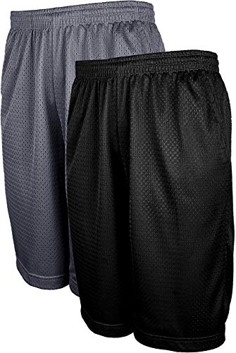 ViiViiKay Men's Athletic Basketball Shorts - Mesh Workout Gym Shorts with Pocket SET2_BK_CHA XL