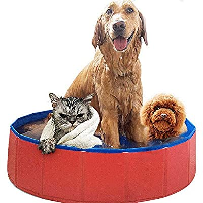 Mcgrady1xm Foldable Dog Pet Pool Bathing Tub, Pet Swimming Pool Collapsible Dog Pet Bath Pool, Large and Medium Sized Pet Dog Cat Swimming Pool, Indoor Outdoor Kiddie Pool Hard Plastic