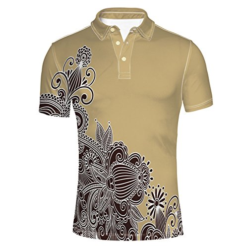 iPrint Inspired Elements Asian Influences Retro Doodle Polo T-Shirts