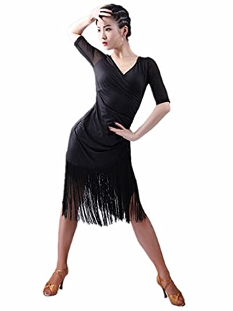1770650c7980 TALENT PRO Latin Rhythm Ballroom Carmen Fringe Tango Cha Cha Dance Dress  Tassel (Large)