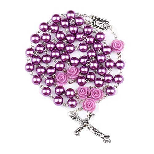 Glass Purple Cross - TK Inspirational Gifts Glass Pearl Beads Rosary First Communion Gift 6pcs 8mm Our Rose Holy Soil Medal&Cross Purple/Pink/White/Black Rosary Necklace (Purple Rosary)