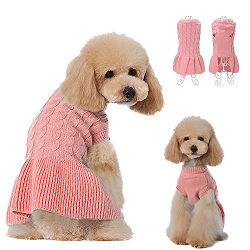 Didog Fashion Sweety Pretty Classic Knitting Dog Sweater Dress with Two Leg design for Small Medium Large Dog, Pink, L Size