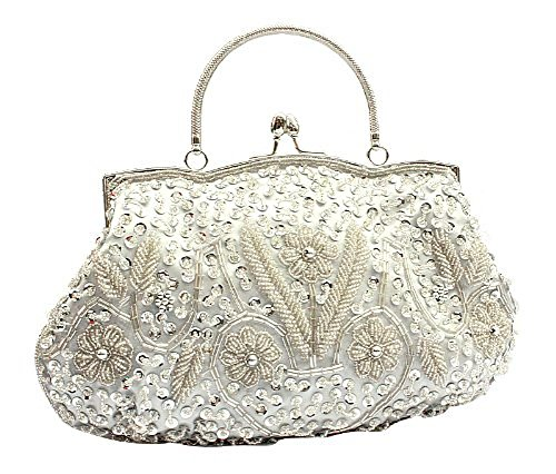 VOCHIC Womens Floral Beaded Top Handel Evening Party Frame Clutch Purse Wallet Handbag-Silver