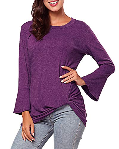 KENANCY Womens Twist Knot Shirt 3/4 Bell Sleeve Ruched Tunics Tops Loose Casual Fit Tie Blouses Purple ()
