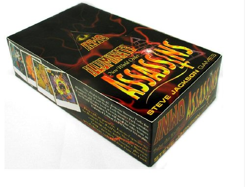 Illuminati New World Order 1995 INWO Assassins Expansion POP collectible card game (CCG), Factory Sealed Display box: 60 Assassins Expansion booster Packs Each Sealed Pack contains 8 cards (480 Cards total) By Steve Jackson (Copyright Date 1995)