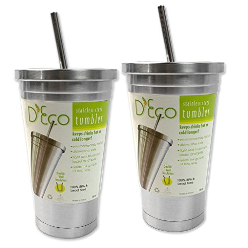 Stainless Steel Tumbler with Straw- (2 pack) 16 oz Hot & Cold Double Wall Insulated Drinking Mug