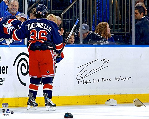 """Mats Zuccarello New York Rangers Autographed 16"""" x 20"""" Photograph with 1st NHL Hat Trick 10/30/15 Inscription -..."""