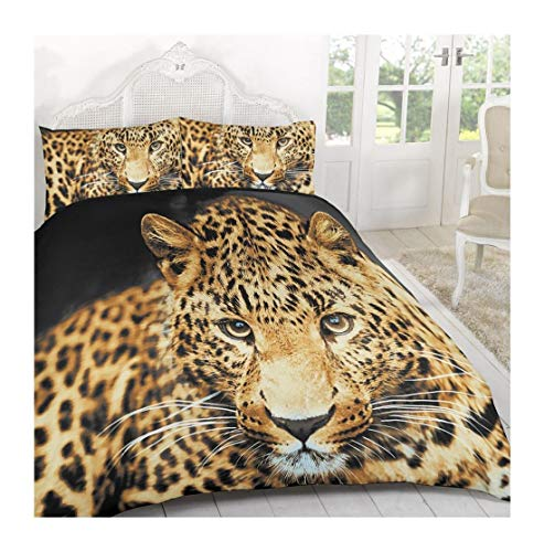 MA Online Super Soft Comfortable 3D Animal Printed Duvet Covers Bedding Set with Printed Pillow Cases Cheetah Print King (Sets Cheap Online Bedding)