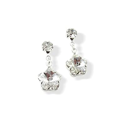 d7e777a92 Clip On Earrings Flower Diamante Drop Earrings - Swarovski Crystal Earrings  Silver Plated: LJ Designs and Oaks Jewellery: Amazon.co.uk: Jewellery