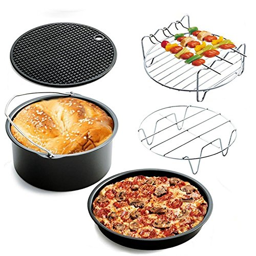 (2017 Upgrade) Air Fryer Accessories Deep Fryer Gowise Phillips Avalon Bay and More, 5-pieces Air Fryer Baking Pan Skewer Rack Barrel Silicone Mat Set Fit all 3.7QT &5.3QT & 5.8QT (Baking Silicone Use Pan)