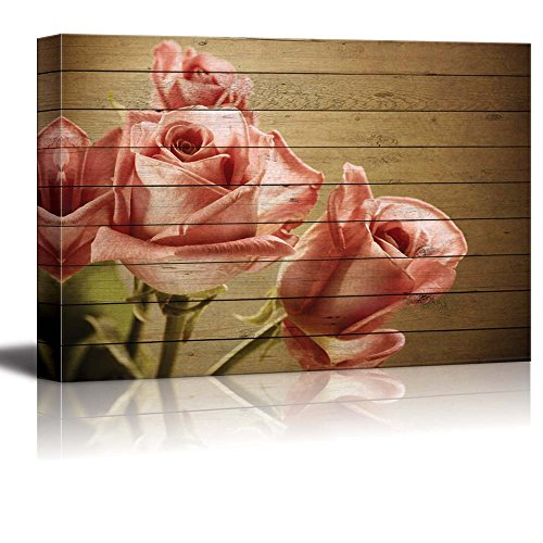 Wall26 - Vintage Bouquet of Pink Roses on Brown Wood Panels and a Vignette Around It - Canvas Art Home Decor - 24x36 inches (Pink Brown Wall Decor)
