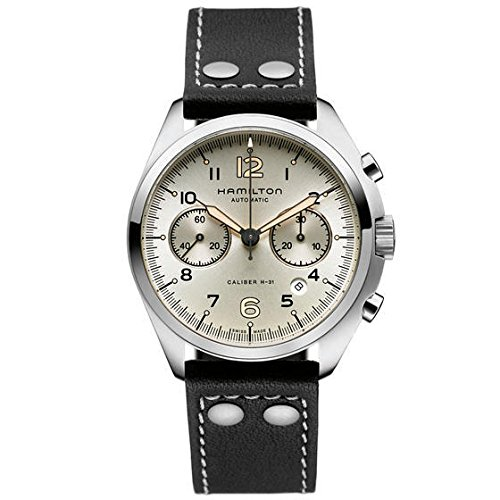 Hamilton Khaki Pilot Pioneer Automatic Chronograph Ivory Dial Black Leather Mens Watch H76416755