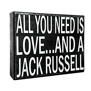 JennyGems - All You Need is Love and a Jack Russell - Wooden Stand Up Box Sign - Home Decor Gift - Jack Russell Terrier Gifts and Decorations, Shelf Knick Knacks 16