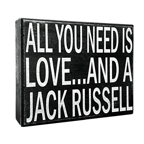 (JennyGems - All You Need is Love and a Jack Russell - Wooden Stand Up Box Sign - Home Decor Gift - Jack Russell Gifts & Decorations)