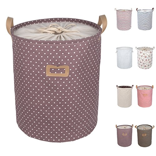 DOKEHOM DKA0811PEL 19.7' Large Laundry Basket (Available 17.7' and 19.7'), Drawstring Waterproof Round Cotton Linen Collapsible Storage Basket (Purple Dots, L)