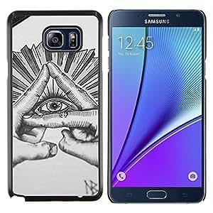 Ojo Pirámide gratuito Mason dibujo a lápiz- Metal de aluminio y de plástico duro Caja del teléfono - Negro - Samsung Galaxy Note5 / N920