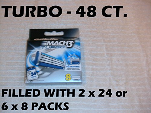 - (Wholesale 2 Pack) Gillette Mach3 Turbo Refill Cartridge Blades, 24 Count (48 Total)