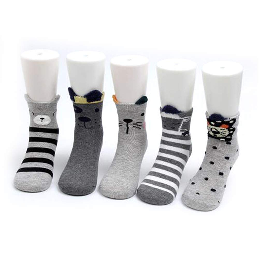 Soft Warm Crew Socks Cute Animal Cartoon Patterned Cotton Socks for Girls Toddler Boys Gray Bear 9-12 Years Old GEMYON 5 Pairs Children Socks