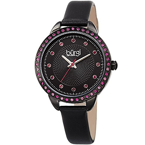 - Burgi Swarovski Crystal Accented Women's Watch with Black Genuine Leather Skinny Strap – Studded Bezel and Dial with Embossed Pattern – Japanese Quartz – BUR161BK