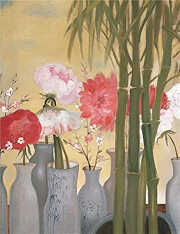 Oil Painting 'Flowers In The Vase And Bamboos' Printing On Perfect Effect Canvas , 18x23 Inch / 46x60 Cm ,the Best Foyer Gallery Art And Home Gallery Art And Gifts Is This Beautiful Art Decorative Canvas Prints