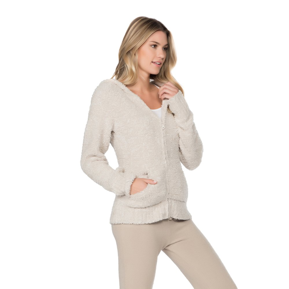 Barefoot Dreams Cozychic Women's Zip Up Hoodiei, Color:Heathered Stone/White, Large