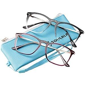 SOOLALA Designer Retro Stylish Large Horn Rimmed Glasses Frame Clear Lens Eyewear, RedTrans, 0