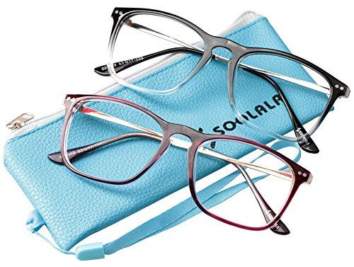 SOOLALA Designer Retro Stylish Large Horn Rimmed Glasses Frame Clear Lens Eyewear, RedTrans, 2.5