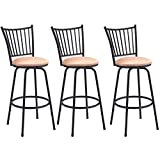 #8: Barstool, GentleShower Set of 3 Modern Swivel Bar Stool Counter Height Chair Bistro Pub Breakfast Kitchen Stools Chair