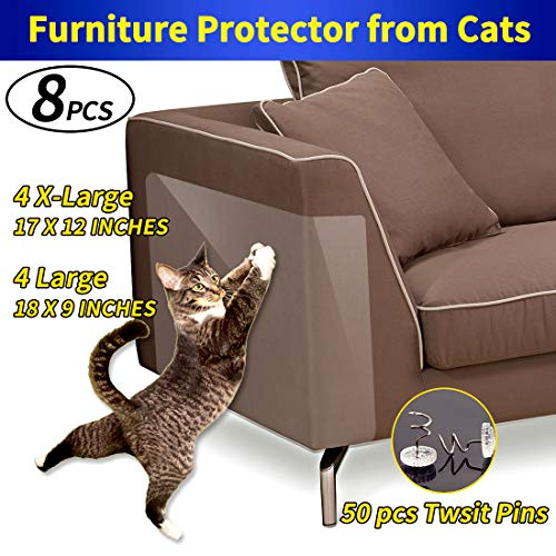 COOYOO Furniture Protectors from Cats,8 Pack Clear Cat Scratching Guard Self-Adhesive Pads,4 Pack X-Large (17″ L x 12″ W) + 4 Pack Large (18″ L x 9″ W)- Best Way to Stop Cat from Scratching The Couch