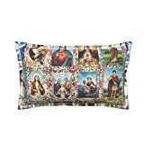Roostery Fabric Eco Canvas Lumbar Pillow - Religious Catholic Saints Collage Jesus Mary by Anette Teixeira - Flanged Cover and Insert Included