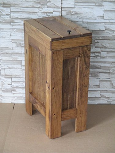 Rustic Wood Trash Bin, Kitchen Trash Can, Wood Trash Can, Dog food storage, 13 Gallon , Recycle Bin, Early American Stain with Metal Knob - Handmade in USA By BuffaloWoodshop by BuffaloWood Shop