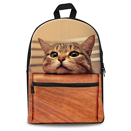 GAGAFEEL School Bags Cute Cat Dog 3D Animals Print Unisex Classic Casual Canvas Backpack Laptop Rucksack for Girls Boys (Brown Cat)