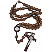 Saint Benedict Rosary Catholic NR Medal with Brown Crosses Beads Prayer Crucifix