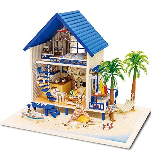 famulei LED木製ドールハウスミニチュアDIY人形家キットwith家具ハンドメイドギフトエーゲ海ビーチハウスクリスマスギフト