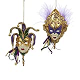 "Kurt Adler 6"" Mardi Gras Mask Ornaments - Set of 2"