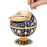 Cigarette Ashtray Ball, Portable Metal Somking Ash Tray with Lid for Home Hotel Wedding Gift Collectibles (Dark Blue)