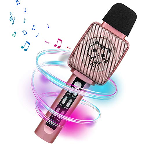 HOKLAN Karaoke Microphone for Kids,Voice Changer, Best Birthday Gifts for 3 4 5 6 7 8 9 Years Old Girls, Birthday Presents Toys for Toddlers, Portable Bluetooth Karaoke Singing Machine with Speaker (Best Girl Voice Changer)
