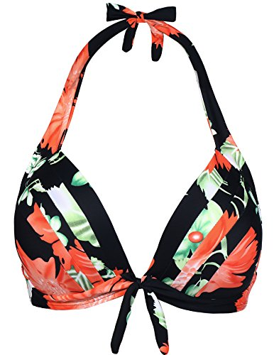 Eidlvais Women's 50s Retro Bikini Swimsuit Swimwear Bathing Suits Tops Separates Black Floral Size XXXL