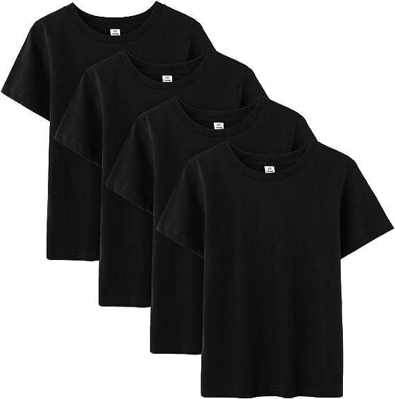 LAPASA Pack de 4 Camiseta para Niño o Niña Unisex de Manga Corta ...