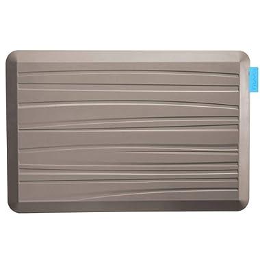 NUVA Anti Fatigue Standing Floor Mat 30 x 20 in, NO PVC!!! 100% PU Comfort Ergonomic Material, 4 Non-slip PU Elastomer Strips on Bottom, 5 Safety Test by SGS (Putty Gray, Beach Pattern)