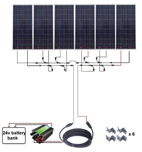 ECO-WORTHY 1000W 1KW Polycrystalline 24V Off Grid Solar Panel Kit: 6pcs 160W Poly Solar Panels+45A Charge Controller+MC4 Solar Cable+MC4 Branch Connectors Pair+Solar Panel Mounting Brackets ECO-WORTHY Solar Power And Accessories