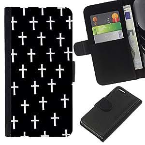 KingStore / Leather Etui en cuir / Apple Iphone 5C / Cruz Cristo Negro Muerte minimalista
