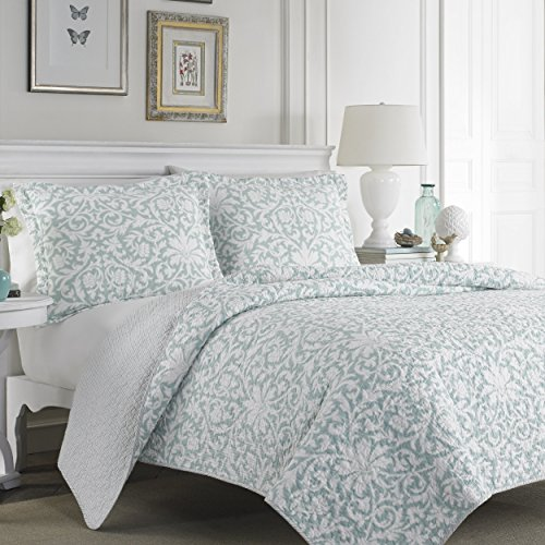 Laura Ashley Blue Reversible Quilt Set, Twin, Floral, Mia